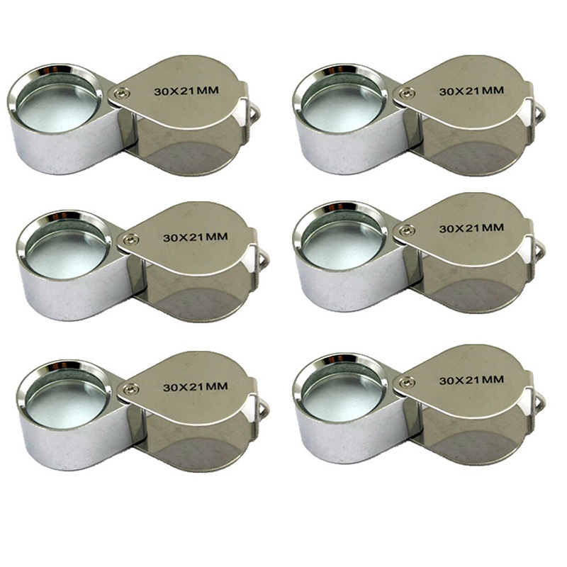 6 Pcs Mini 30X 21mm Jeweler Jeweler's Jewelry Loupe Magnifier Magnifying Glass Silver with Box