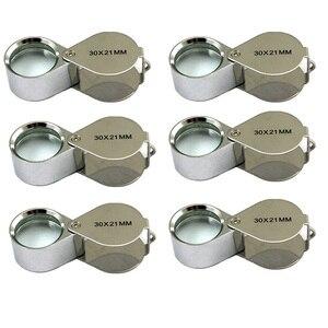 6 Pcs Mini 30X 21mm Jeweler Je