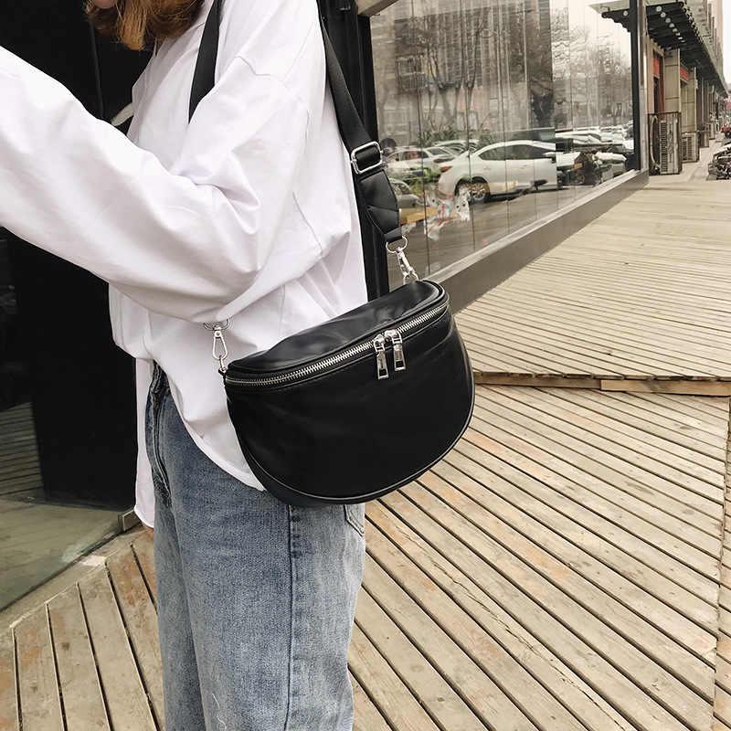 Wanita PU Kulit Hitam Dompet Fashion Sederhana Tas Bahu Kasual Packbag Untuk Wanita Olahraga Hiking Selempang
