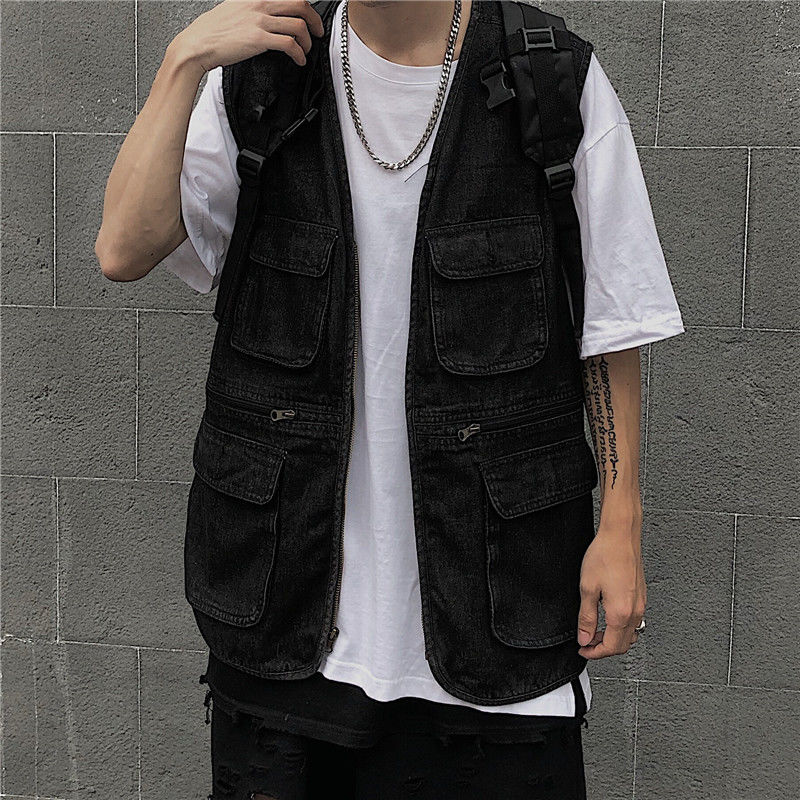 Black Denim Vest Men's Fashion Washed Retro Multi-pocket Tooling Vest Men Streetwear Wild Hip-hop Zipper Denim Vest Jacket M-4XL