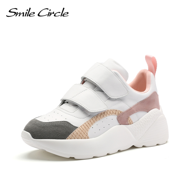 $ US $43.80 Smile Circle Sneakers Women Flat Platform Shoes Spring fashion casual Thick bottom Chunky Sneakers Ladies Shoes White pink