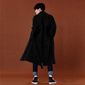 Image 4 - Abrigo de Cachemira de estilo coreano informal para hombre, chaqueta holgada de lana, abrigo de una botonadura