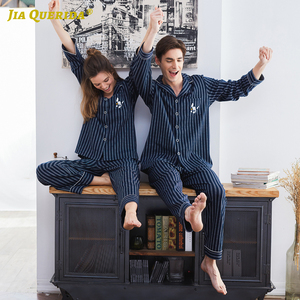 Image 5 - Couple Pajamas 2020 100% Cotton Cardigan Long Sleeved Men And Women Pajamas Stripe Embroidered Lapel Couple Home Suit Sleep Wear