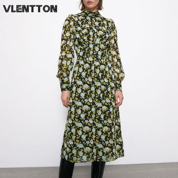 New Spring Autumn Women Vintage Floral Print Pleated Midi Dress Fashion Zipper Long Sleeve A-Line Party Dresses Female Vestido delocah new women autumn dress runway fashion 3 4 sleeve floral printed beading back zipper elegant vintage party mini dresses