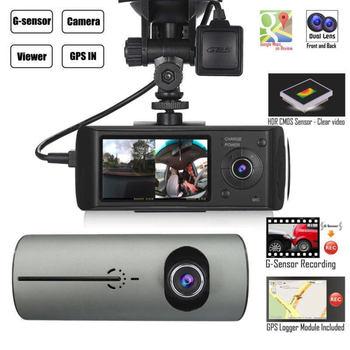 Dual Lens GPS Camera HD Car DVR Dash Cam Video Recorder G-Sensor w/ Night Vision Lock Button Automatic Cycle Recording
