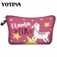 Yotina Women Cosmetic Bag llama 3D Printing With Multicolor Pattern Makeup with Zipper travel makeup organizer
