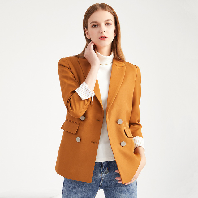 2020 New Spring Autumn Blazer Women Slim Double Breasted Solid Suit Jacket Office Ladies Business Work Wear Coats Plus Size 4XL