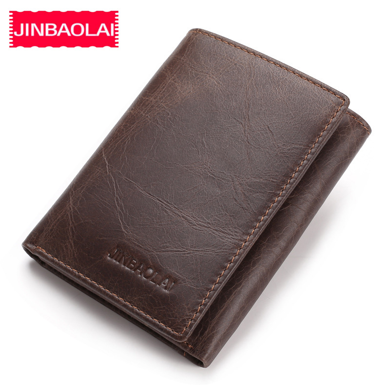 JINBAOLAI Genuine Cow Leather Men Wallets Card Holder Note Compartment Short Wallets Vintage Brand High Quality Purses For Male