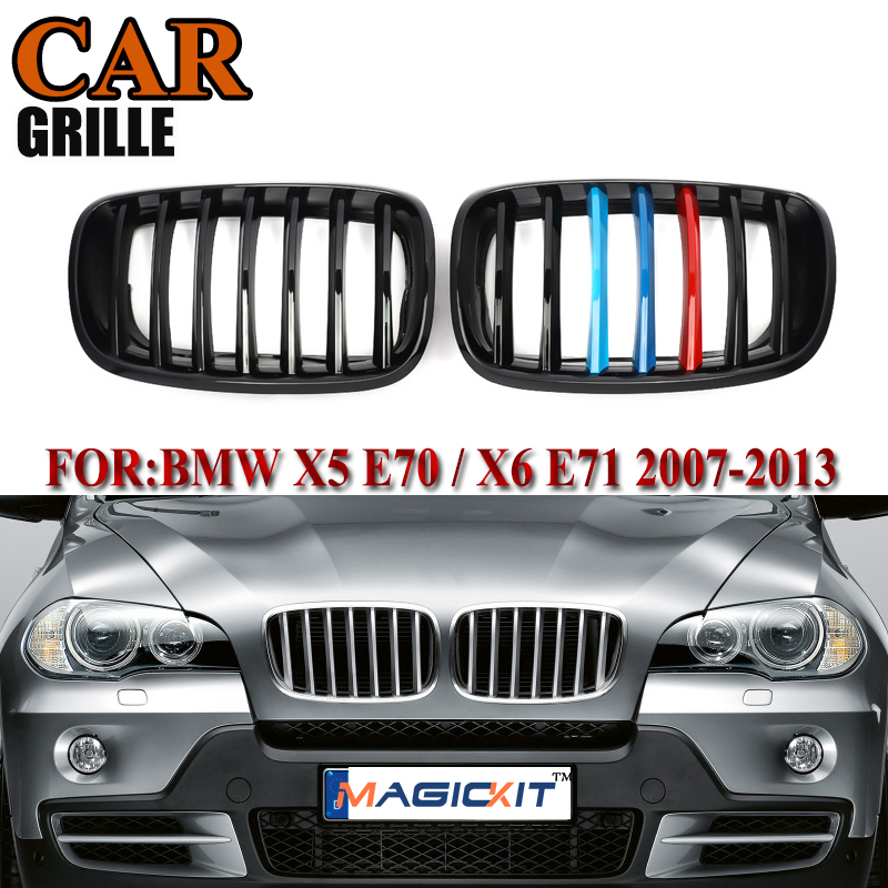 1 Pair Front Bumper Sport Kidney Grilles Hood Grill Fit For BMW E70 X5 E71 X6 2007-2013 Silver