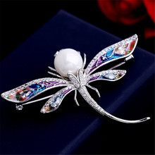Luxury Lady Copper Material Dragonfly Brooch Pin With Pearl AAA  Zircon Brooches For Women Clothes Bag Accessories