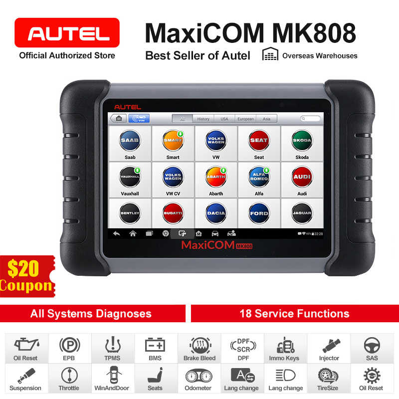 Autel Maxicom MK808 Auto Diagnostic Tool Automotive OBD2 Scanner Obd 2 Auto Code Reader Key Codering Immo Pk MX808