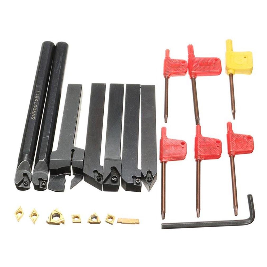 21Pcs/Set 12mm Shank Lathe Turning Tool Holder Boring Bar + Insert Blades + Wrench S12M-SCLCR06/SER1212H16/SCL1212H06