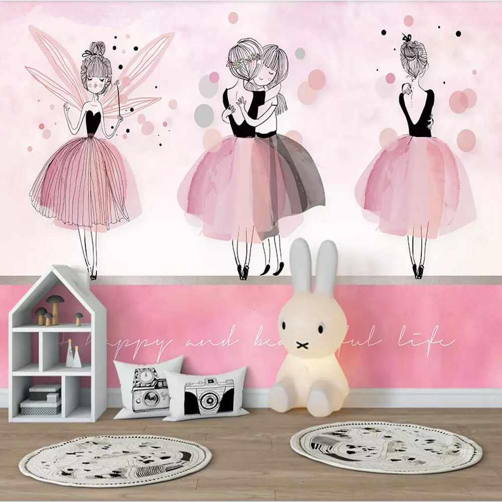 Milofi Custom 3D Wallpaper Mural Nordic Pink Ballerina Girl Children Room Living Room Bedroom Wall Decoration Wallpaper