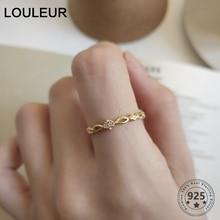 LouLeur Genuine 925 Silver Zircon Rings Elegant Wedding Party Gold Open rings for Women
