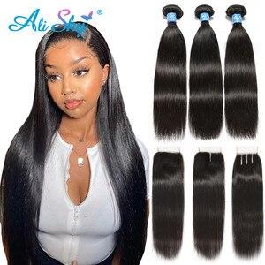 Image 1 - Alisky бразильские волосы прямые 3 пряди с закрытием человеческие волосы пряди с закрытием кружева Remy человеческие волосы для наращивания