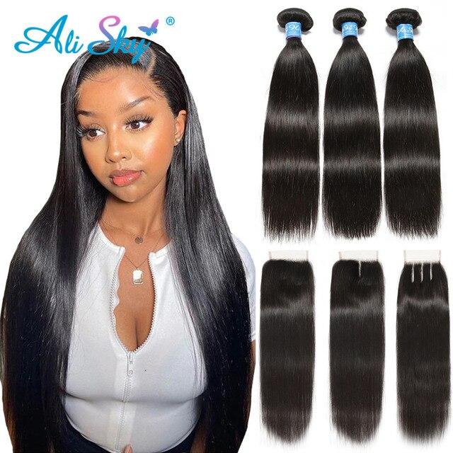 Alisky бразильские волосы прямые 3 пряди с закрытием человеческие волосы пряди с закрытием кружева Remy человеческие волосы для наращивания