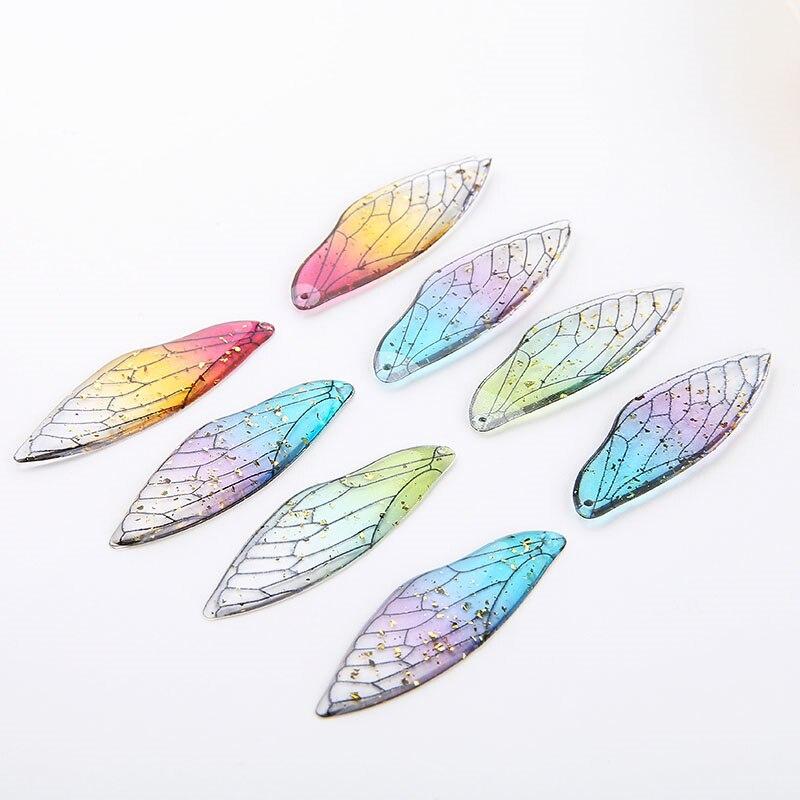 Boucles doreilles avec ailes de fée, 4 pièces, insecte, pendentif en résine dégradé, bricolage boucles doreilles en plumes époxy à feuille dor, accessoires colliers