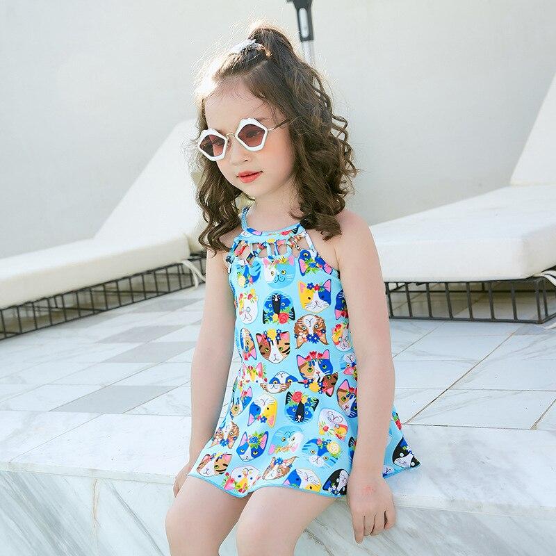 One-piece Swimsuit For Children Cute Kitten Skirt Small CHILDREN'S Swimwear Girls Swimwear Cartoon Hipster Bubble Hot Spring