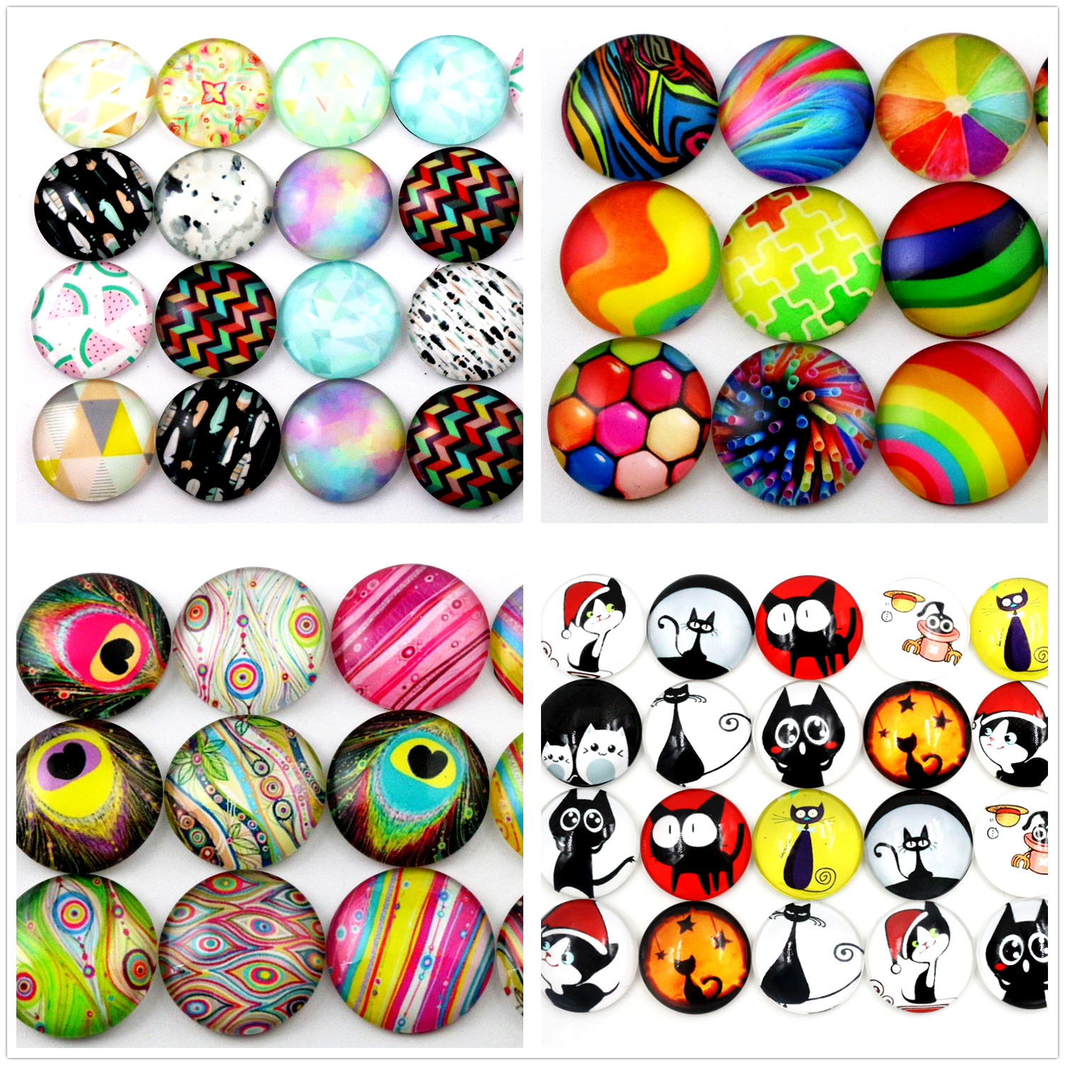 Hot Sale 10pcs 20mm New Fashion 8 Style Mixed Handmade Glass Cabochons Pattern Domed Jewelry Accessories Supplies
