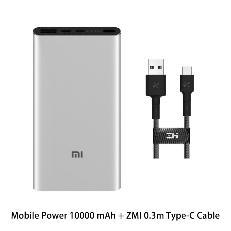 Xiaomi Mi 3 Pro 10000 мАч Внешний аккумулятор Двусторонняя Быстрая зарядка USB-C Двойной вход выход PLM12ZM 10000 мАч Внешний аккумулятор для мобильного телефона - Цвет: Silver ZMI Type-C