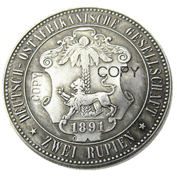 1891 German East Africa 1 Rupie Coin Guilelmus II Imperator Silver Plated Copy coin image