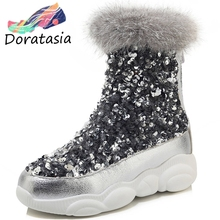 DORATASIA New Plus Size 29-46 Brand Fashion Bling Flat Platform Shoes Woman Casual Soft Winter Warm Fur Ankle Boots Women