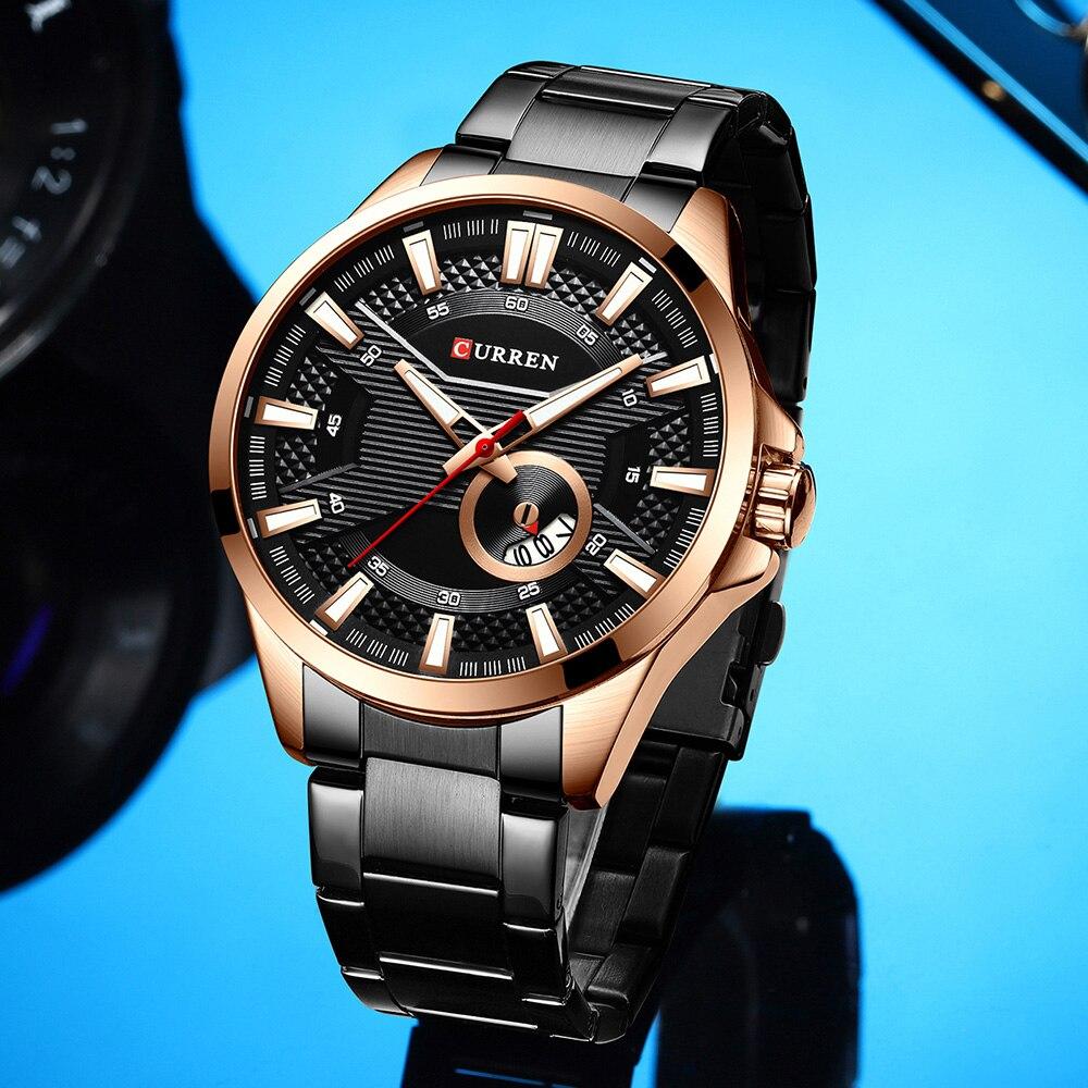 H7837c511dc90402d881b1414f975f0d15 New Stainless Steel Quartz Men's Watches Fashion CURREN Wrist Watch Causal Business Watch Top Luxury Brand Men Watch Male Clock