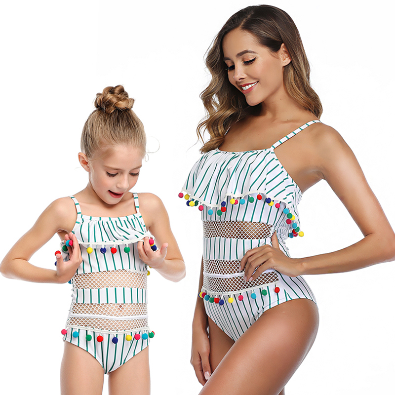 2020 New One-Piece Mother Daughter Swimsuit Striped Mommy And Me Swimwear Family Matching Outfits Mom And Baby Bathing Suits