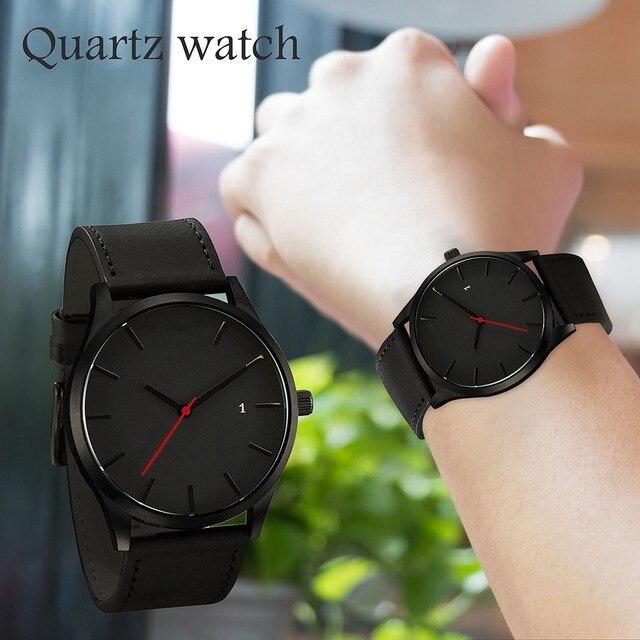 Luxury Watch Men Leather Ultra-thin Stainless Steel Black Bracelet Wristwatches Male Watch Clock Reloj Hombre Relogio Masculino 2