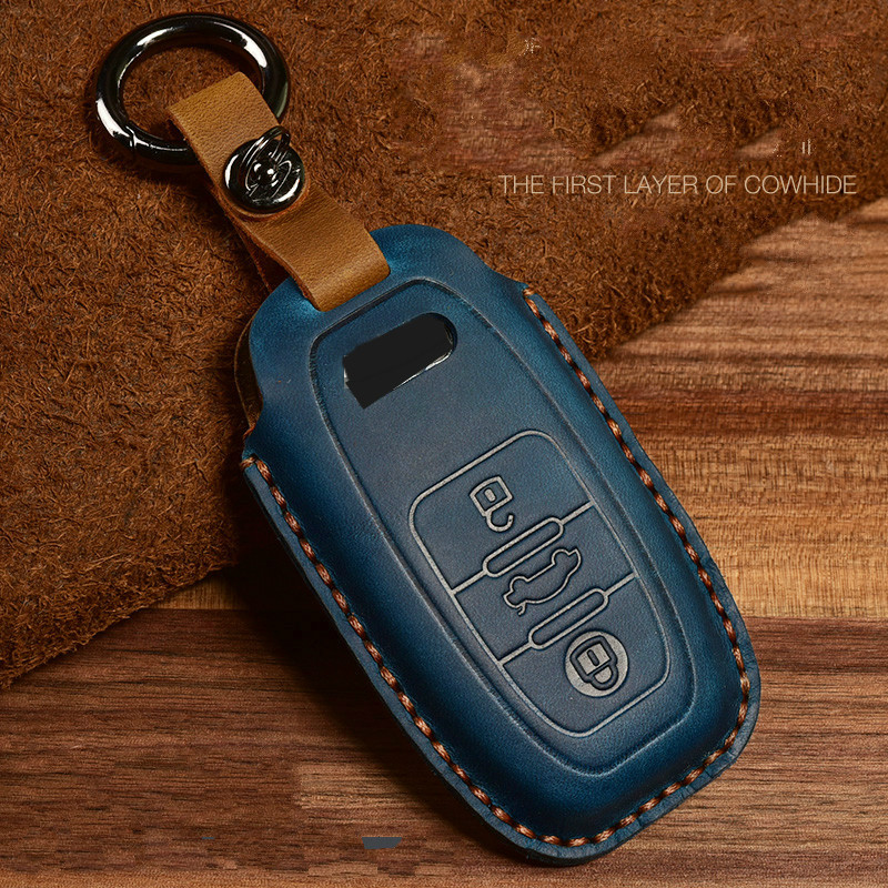 Auto Car Styling Leather Key Case For Audi A1 A3 A4 A5 Q7 A6 C5 C6 Car Holder Shell Remote Cover Car-Styling keychain
