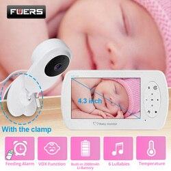 Monitor de vídeo para bebé de 4,3 pulgadas con cámara Audio bidireccional cámara de seguridad para bebés Babyphone detección de temperatura de visión nocturna