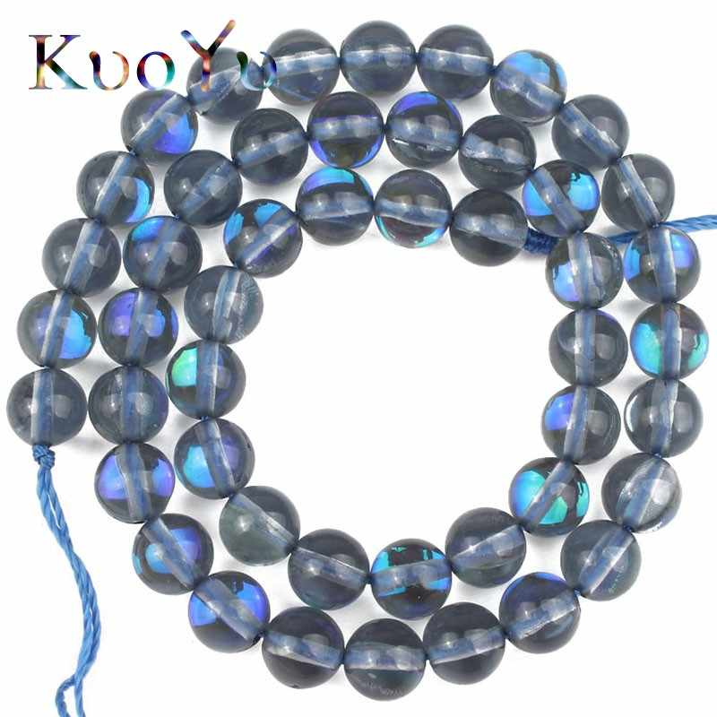 "AB Grey Austrian Crystal Round Loose Spacer Beads For Jewelry Making Needlework MoonStone Glitter Diy Bracelets 15"" 6 8 10 MM"