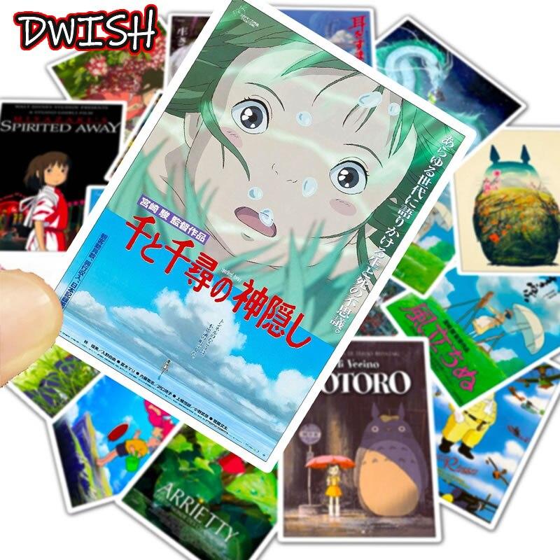 Cartoon Anime Hayao Miyazaki Series Children Waterproof Stickers Skateboard Suitcase Guitar Scrapbooking Graffiti Kid Sticker