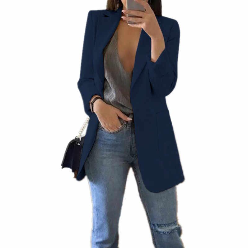 ファッションスリムブレザー女性の秋の新スーツジャケットの女性の仕事オフィスの女性のスーツポケットビジネスノッチブレザーコートプラスサイズ 5XL