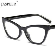 JASPEER Vintage gafas de ojo de gato monturas de marca de diseñador cómodo plano espejo señora óptico lentes recetados