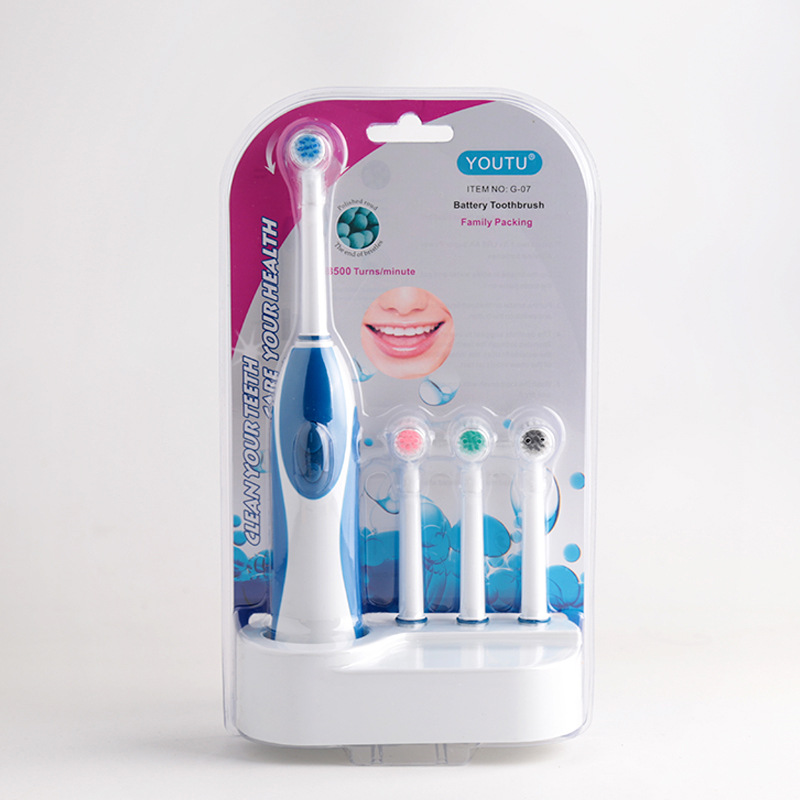 Home use Family Set Battery Rotary Electric Toothbrush Set with 3 replaceable Brush Heads image