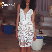 купить INDRESSME 2019 Fashion New Women Party Sexy Strap Deep V Sling Sequins Floral Lace Criss Cross Back Bodycon Bandage Club Dress дешево