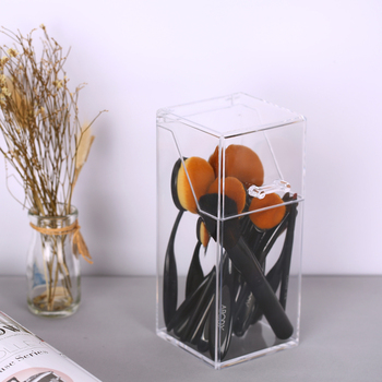 Clear Acrylic Makeup Brush Holder Dust-proof Cosmetic Brushes Organizer Storage Box Case with Lid for Brush Makeup Tools