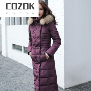 COZOKCOZOKHigh Quality Fashion Women's Down Jacket Genuine Raccoon Fur Collar Female Winter Parkas Women Coats Ropa Mujer Zjt255
