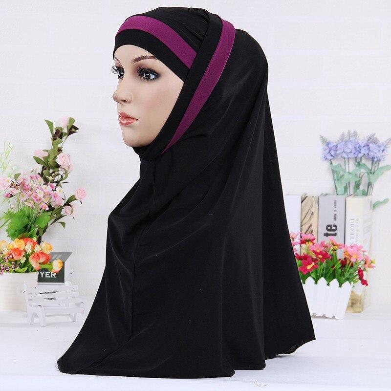Muslim Scarf For Women Solid Color Stripe Shawl Hijab Femme Musulman Arab Wraps Headscarf Hijabs Islamic Head Scarves Kopftuch
