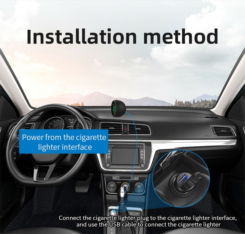Digital GPS Speedometer Hud Mph / Km Car And Motorcycle Speeding Warning Device With USB Charger Wire Car Accessories