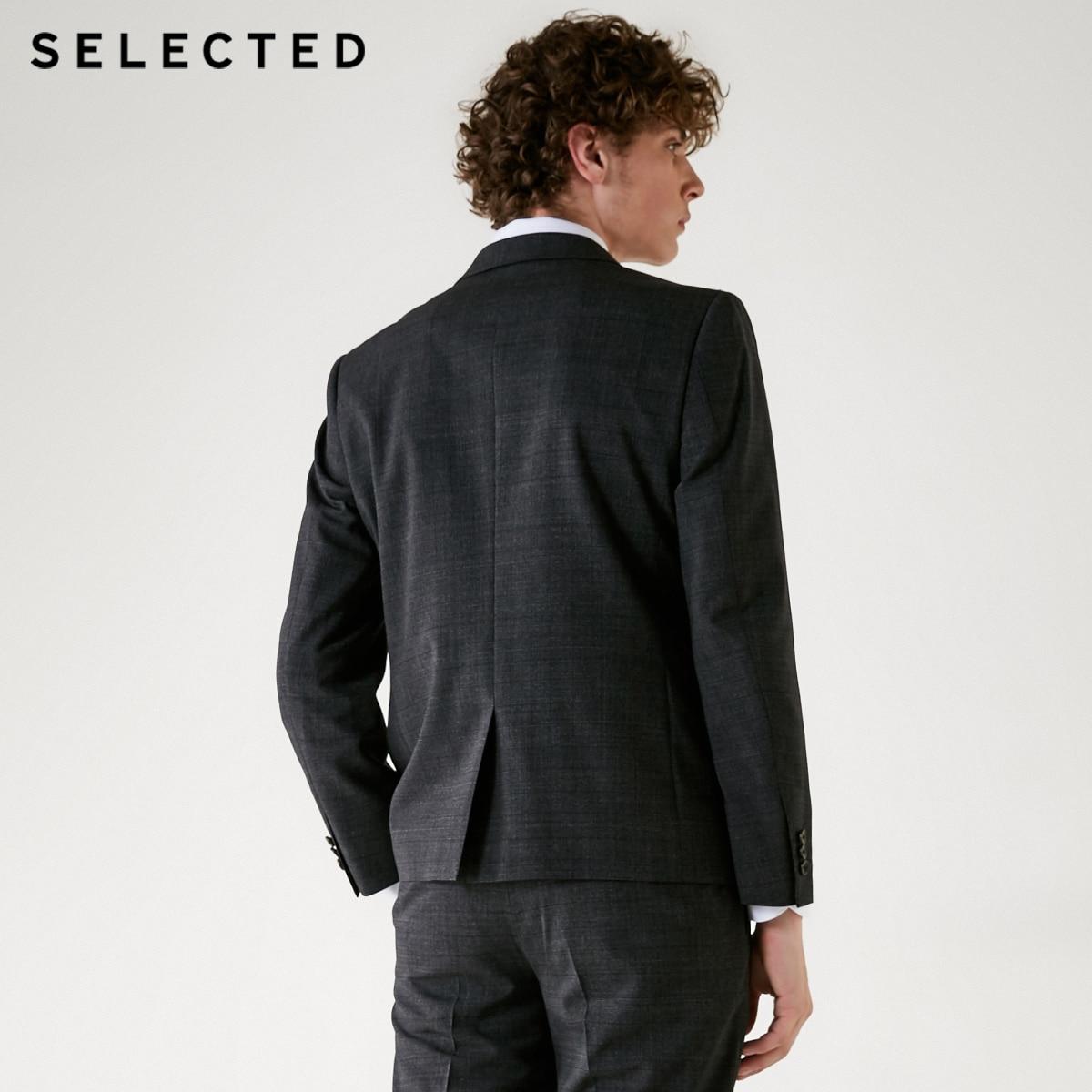 SELECTED Mens Slim Fit Plaids Wool Bussiness Blazer Suit Coat| 41835Z503