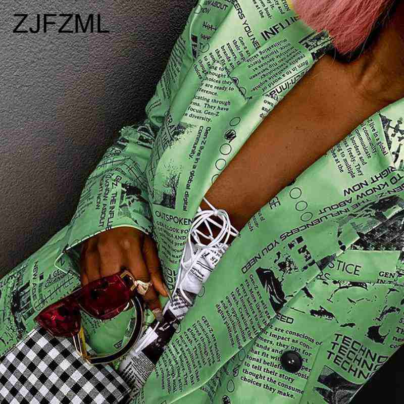 Streetwear Jackets and Blazers Casual Letter Print Notched Long Sleeve Blazer Women Fashion Long Coats Loose Green Jacket 2019