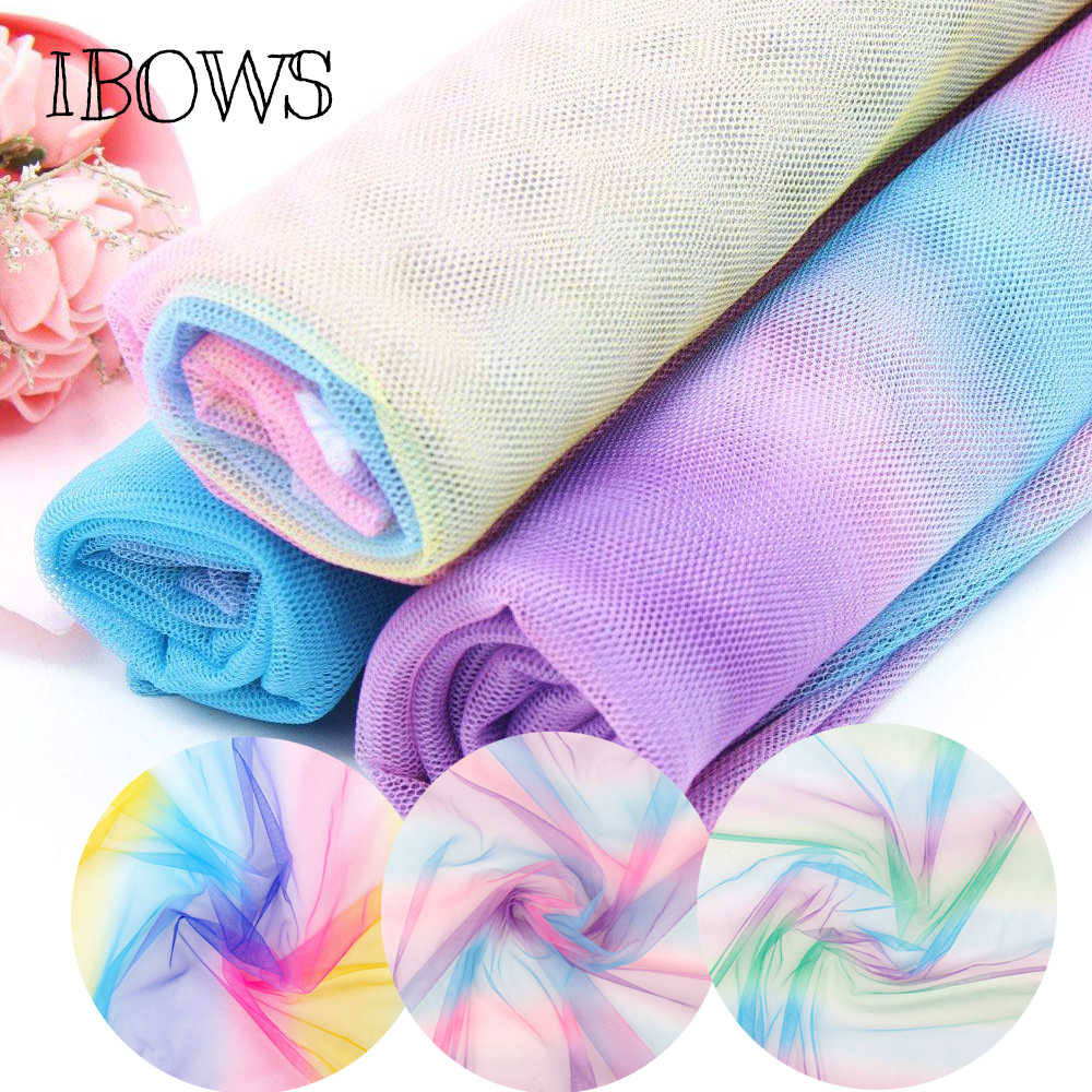 IBOWS 90*150cm Soft Tulle Mesh Fabric Rainbow Color for Wedding Decoration Netting Fabric DIY Crafts Skirt Curtain Party Supply