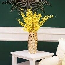 Creative Golden Ceramic Vase Decoration Dry Flower Insert Ceramic Craft Modern Home Decoration Living Room TV Cabinet Floral