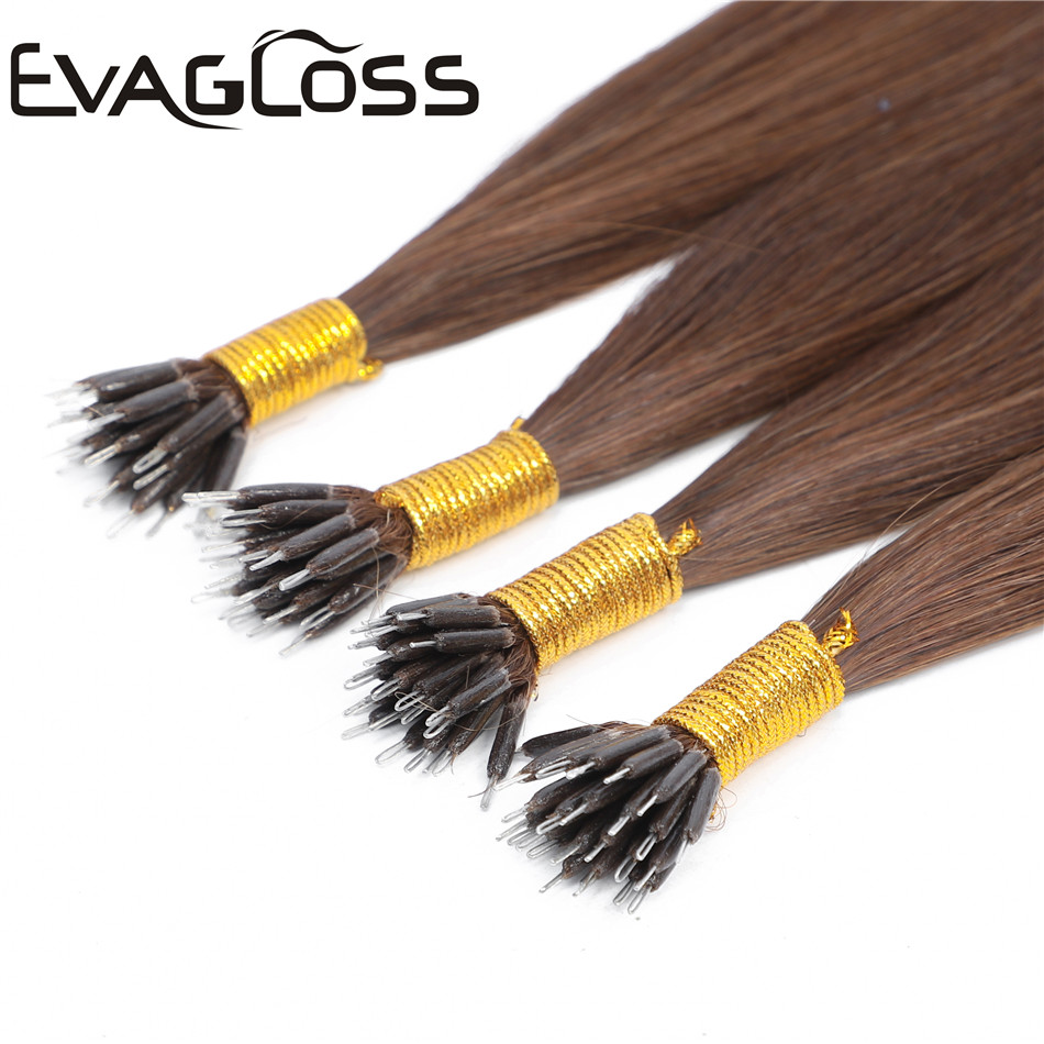 EVAGLOSS 0.8gram/strand Keratin Straight Nano Beads/Rings Micro Link Russian Real Natural Remy Human Hair Extensions