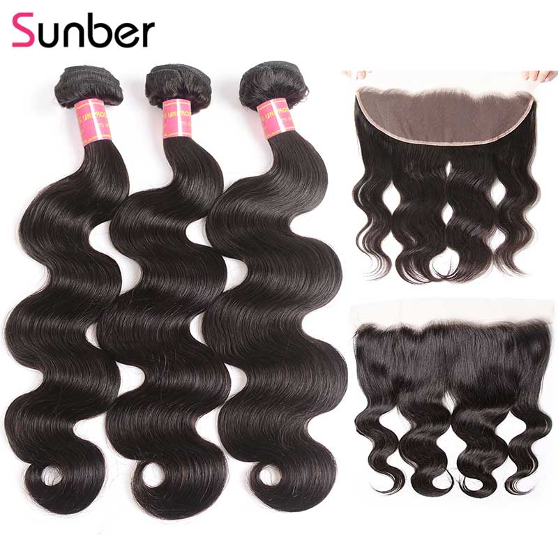 Sunber Hair 13x4 Frontal Closure With Body Wave Bundles Peruvian Human Hair Weave Bundles With Fontal Ear To Ear M Remy Hair
