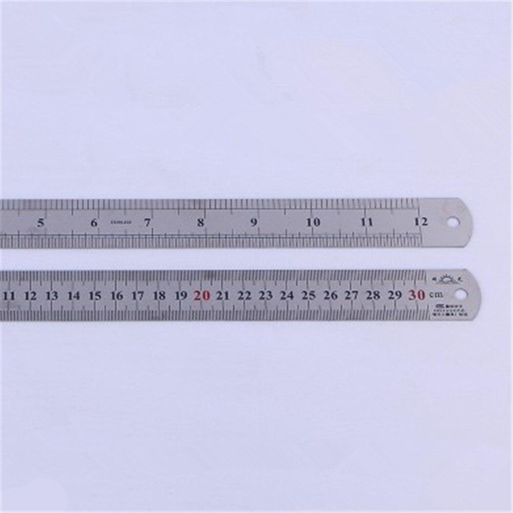 1pcs Silver Tone  Double Sided Metal Steel Measuring Ruler Carpenter Workshop Straight Ruler School Supplies
