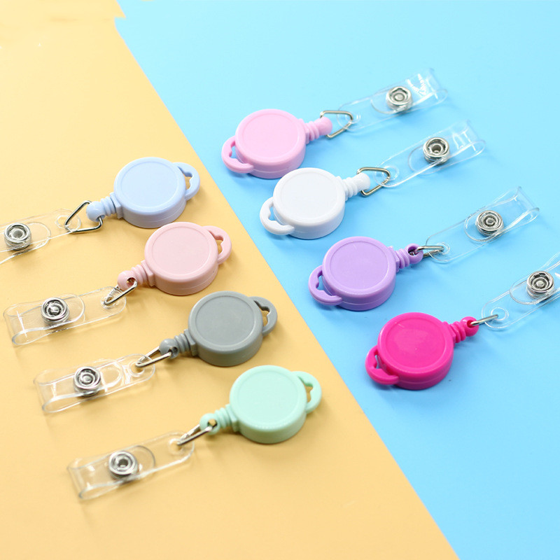 1 Pc Retractable Ski Pass ID Card Badge Holder Reel Pull Key Name Tag Card Holders Recoil Reels For School Office Company