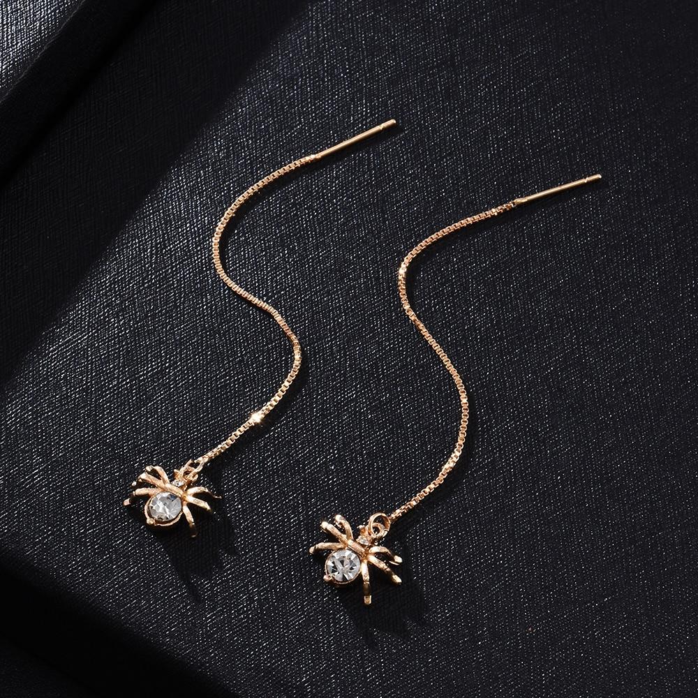 Fashion Crystal Spider Pendant Long Chain Earring Dangle Earrings Alloy Earrings for women